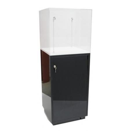 cabinet and storage plinth black high gloss, 30 x 30 x 100 cm (LxWxH)