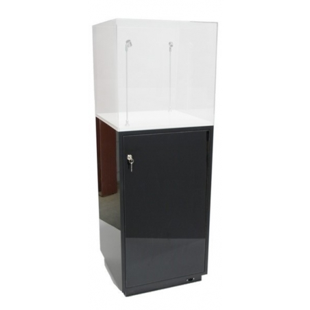 cabinet and storage plinth black high gloss, 50 x 50 x 100 cm (LxWxH)