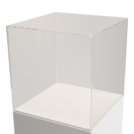 acrylic case, 35 x 35 x 35 cm (LxWxH)