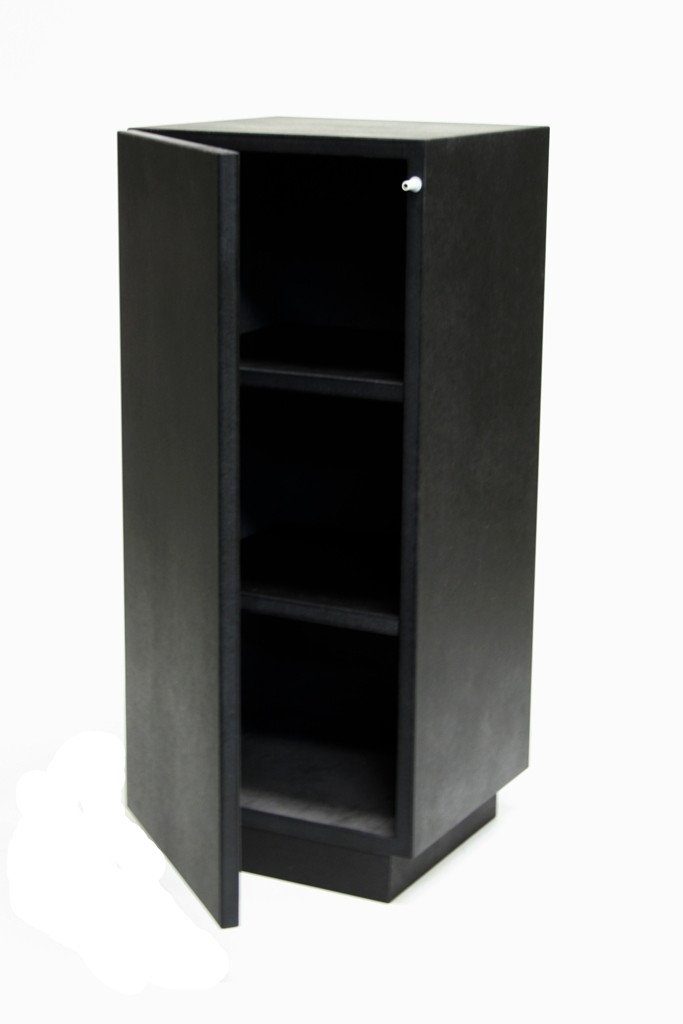 Cabinet and storage plinth black high gloss