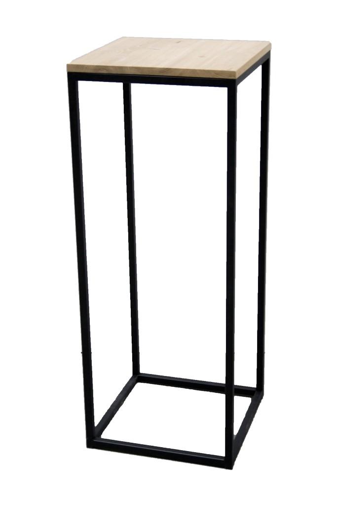 Demountable black industrial steel plinth