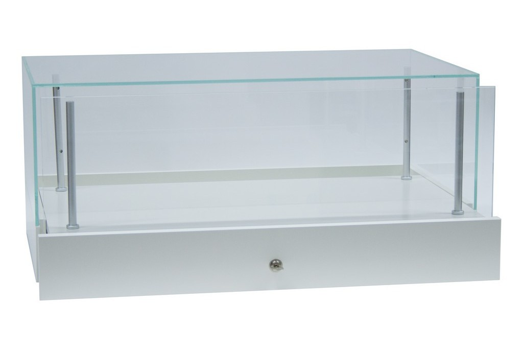 Counter showcase display case with a drawer
