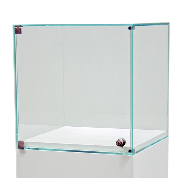 Glass display case with a door