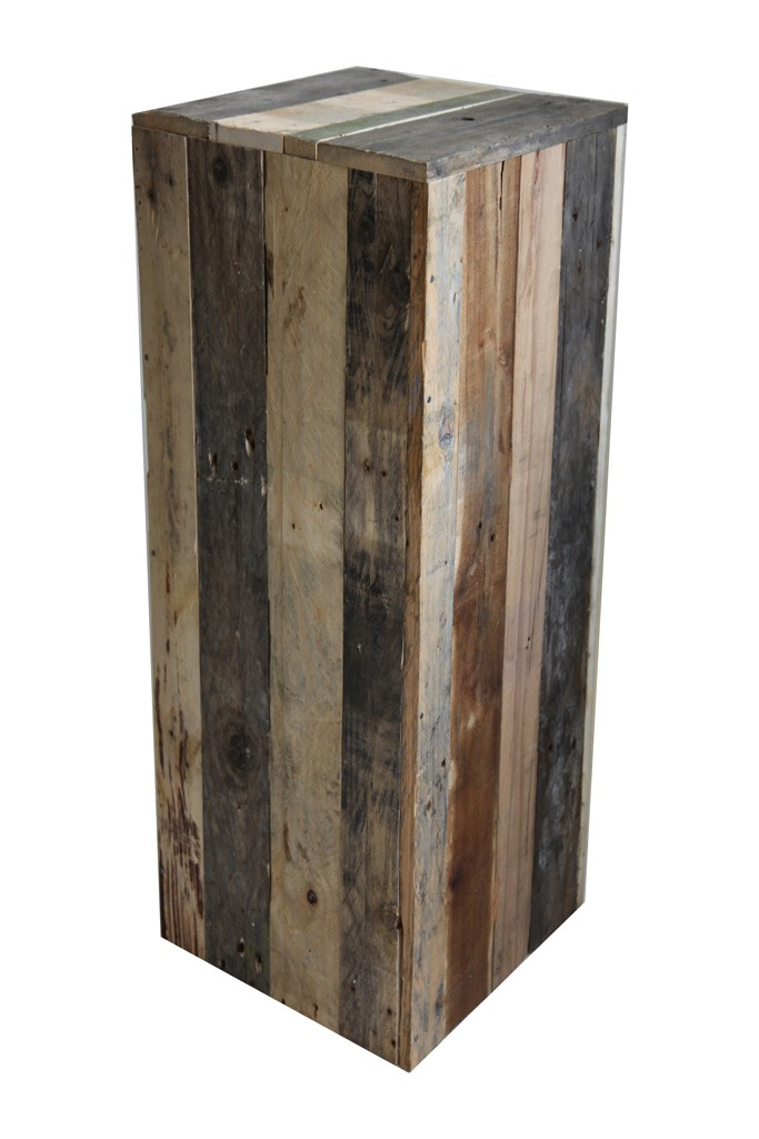 Recycled wood plinth